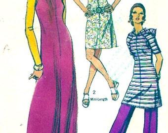 70s Hooded dress Boho style festival wear vintage sewing pattern Simplicity 9305 Bust 36 vintage fashion pattern