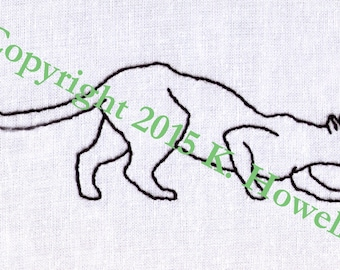 Pouncing Cat Hand Embroidery Pattern