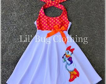 Daisy Duck Dress, Daisy Duck Birthday Dress, Daisy Duck Vacation Dress, Minnie Mouse Girl Dress, Daisy Duck Birthday Party Outfit,
