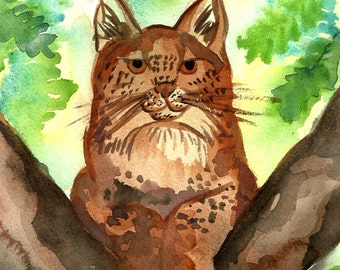 Lynx ACEO Art Print Wildlife Nature Bobcat Wild Cat Big Cat Feline Watercolor Illustration Artist Trading Card 2,5 x 3,5 by Niina Niskanen