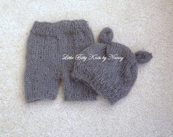 Knit Shorts and Hat set, Knitted Mohair Props Newborn Photo Props, U Choose Color Size
