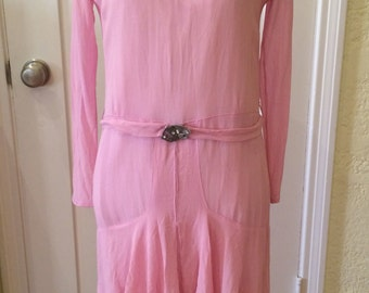 1920s Vintage Dress, 20s Pink Chiffon, 1930s Crepe Garden Dress, Art Deco, Flapper Style, Gatsby Gown, Irish Lace, Lady Mary, Gift for Her