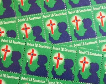 100 Vintage Detroit TB Sanatorium Christmas Stamps