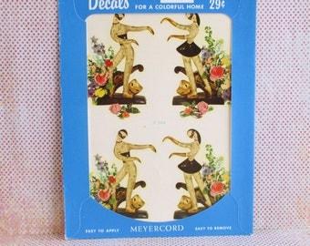 Vintage Meyercord Decal - Harlequin Dancers- NOS