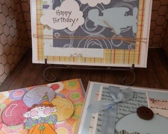Notecards Birthday Handmade Bright and Fun 3 Set On Sale