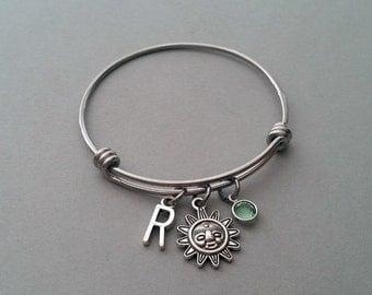 Sun Charm Bracelet, Sun Bracelet, Celestial Charm Bracelet, Celestial Bracelet, Beach Charm Bracelet, Initial Charm, Birthstone Bracelet