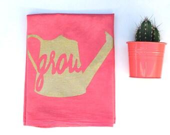 Spring Dish Towel - Spring Tea Towel - Coral Flour Sack Towel - Spring Decoration - Grow Dish Towel - Coral Kitchen