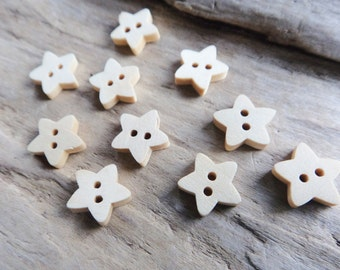 Light Star Wood Button, Supply Nature Sewing Knitting Add Lot of 10