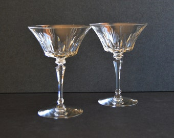 Tiffin Champagne Coupe Glasses {Vintage Cocktail Wine Coupes Set Wedding Gift Bride Groom Toasting Midcentury Drinkware Barware Bar Cart}