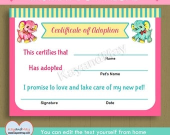 Adoption certificate for baby doll stuffed animal pet and more elephant adoption certificate instant download cute printable adoption certificate pink aqua elephants pdf yadclub Gallery