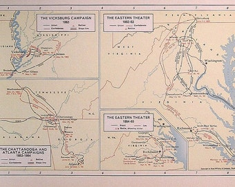 The Vicksburg Campaign, The Eastern Theater, Chattanooga - 1957 Vintage Map - Vintage Atlas Page - Rand McNally Map - Colored Map - 11 x 7