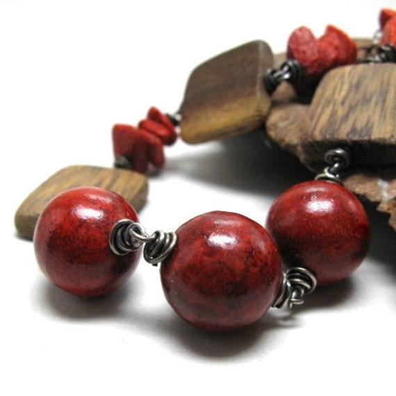 Statement necklace, bold jewelry, chunky necklace, red sponge coral, wood, fall jewelry