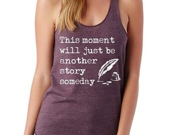 Writer Girls Ladies Heathered Tank Top Shirt screenprint Alternative Apparel