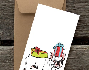 French Bulldog with Presents -- 8 Blank flat cards and envelopes