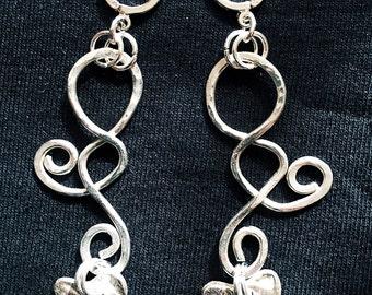 Silver Spiraling Heart Earrings