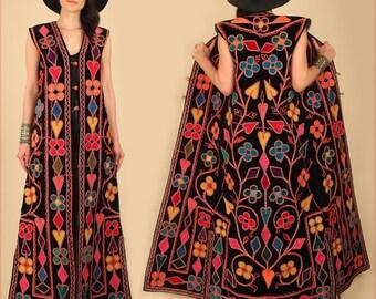 Black VELVET ViNTAgE Embroidered Maxi Dress Vest TRIBAL Hearts 60's 70's Rocker Morrison Jacket Gypsy India Afghan Free Size