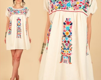 ViNtAgE Mexican EMBROIDERED MiNi Dress // Natural Cotton Tunic Dress // Floral Artisan Made HiPPiE XL Large L