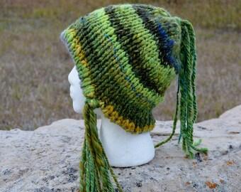 Green Elf Bonnet With Long Tassels - Hand Knit Handspun Wool with Millspun Grey Wool Lining - Cozy Double Knit Winter Hat - Boho, Women