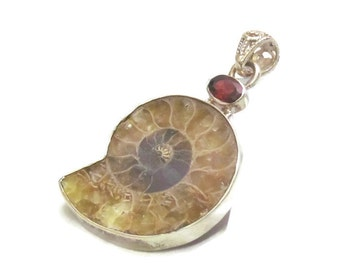 Ammonite Fossil, Ammonite Necklace, Ammonite Pendant, Garnet Necklace, Prehistoric Relic, Genuine Fossil, Ammonite Pendant Necklace