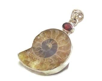 Ammonite Necklace Pendant - Ammonite Fossil - Garnet Necklace - Gemstone Jewelry