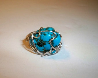 Turquoise Ring, Handmade Turquoise Ring, Silver Wire Wrapped Ring, Assorted Rings Wire Wrapped with Beads, Vintage Buttons, Crystal Stones