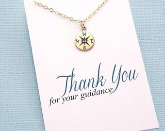 Teacher Gifts | Compass Necklace, Teacher Gifts, Mentor Gift, Compass Charm, Compass Rose, Mentor Appreciation, Mentor Teacher Gift | T02