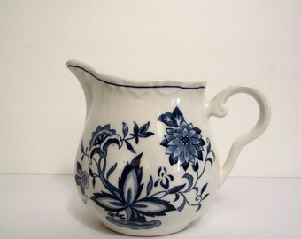 Blue and White Ironstone Pitcher Creamer Blue Bonnet Pattern from Harmony House Small