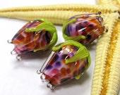 SMAUGGS handmade rosebud bead (1p, 16-17mm x 14mm), glass, purple, pink, orange, green, hole 2mm, SRA