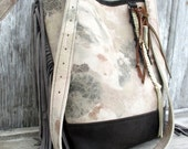 RESERVED for Joan  - Leather -  Cross Body  - Bucket Bag - in Vintage Floral Leather - with Fringe - by Stacy Leigh