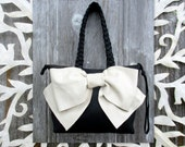 RESERVED for Dianne Leather Bow Petite Handbag in Black and Ivory Leather by Stacy Leigh