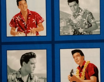 Elvis Presley Cotton Panel of 4 Blue Hawaii Images