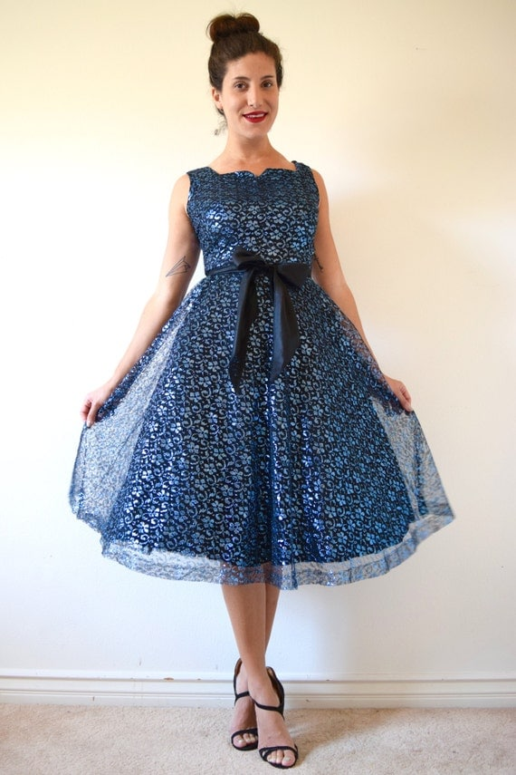 SPRING SALE/ 20% off Vintage 50s 60s Metallic Blue and Black Mesh Lace New Look Party Dress (size small)