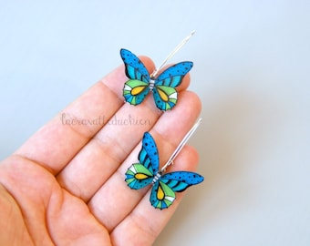 Butterfly dangle earrings, Butterfly jewelry, blue butterflies