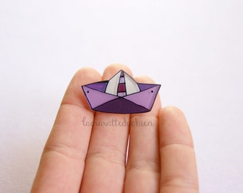 Paper boat brooch, illustrated jewelry, Origami boat, Purple boat pin
