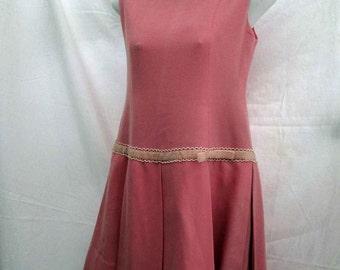 60s Pink Pleated dress 60s drop waist mini dress Vintage 20s style design dress Velvet ribbon pleated skirt S