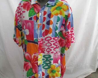 Jams World Hawaiian shirt Utopia print Bright Rainbow modern art vintage Hawaiian shirt Vintage Hawaiiana 80s Jams World shirt XL
