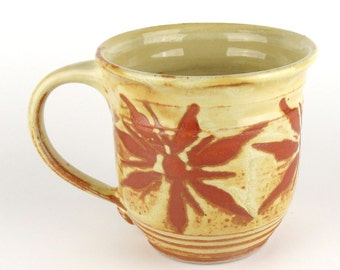 Stoneware Mug - 16 oz. - Coffee Cup - Latte Mug - Tea Cup - Yellow - Terracotta / Handmade wheel thrown pottery