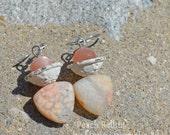 Soft Peach and White Earrings