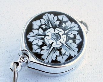 White Flower on Black Lanyard Badge Reel with Belt Clip