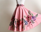 Vintage 1950s Sequin Full Circle Skirt - Cotton Candy Pink Floral Skirt