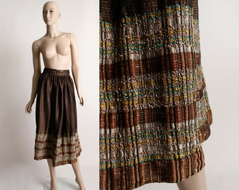Vintage Guatemalan Woven Skirt - Bohemian Ethnic Metallic Thread Chocholate Brown Copper Boho Skirt - Small