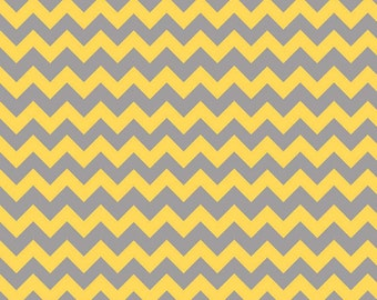 Chevron Fabric, Yellow and Gray fabric, Riley Blake, Small Chevron in Yellow/Gray, School fabric, Choose the Cut, Free Shipping Available