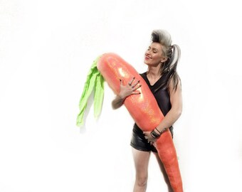 DISCO CARROT Body Pillow - 4 Foot Orange Hologram Pillow