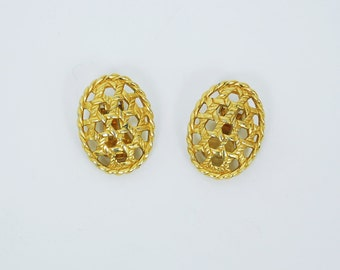 Christian Dior 1980's Vintage Gold Tone Metal Rope Oval Signed Clip On Earrings