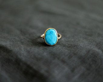 Turquoise ring Gold December birthstone Vermeil gold Summer jewelry Gift for her under 100