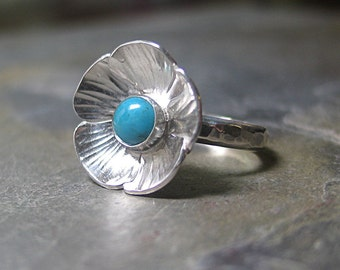Flower ring sterling silver nature jewelry garden jewelry turquoise choice of gem - Summerflower
