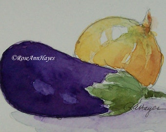 Original Watercolor Painting Eggplant Onion Vegetable Garden Veggie Still Life ACEO