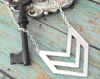CHEVRON BLING - Silver Mirror Laser Cut Acrylic Necklace