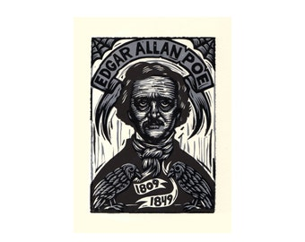Art, Edgar Allan Poe Linocut Print, Letterpress Printed with Ravens, Edgar Allan Poe Art Print, The Raven, Poe Print, Literary Art