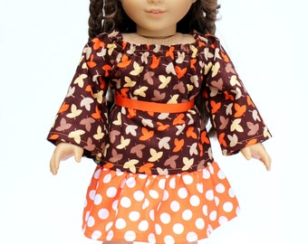 Fits like American Girl Doll Clothes - Leaves Peasant Top and Orange Dot Skirt